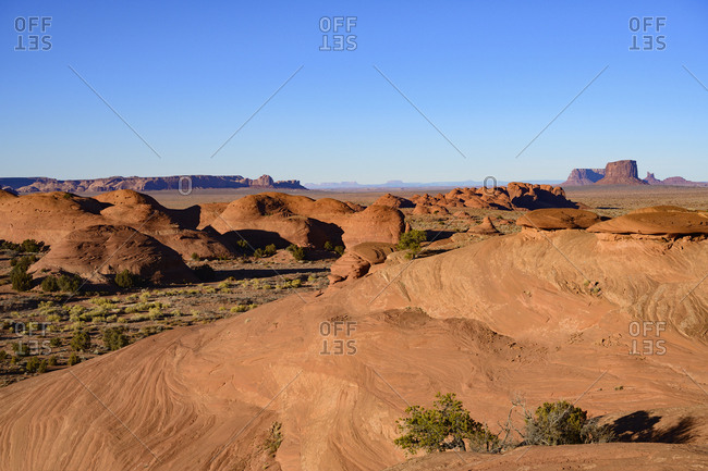 Smooth rock formations in Monument Valley, Arizona, USA