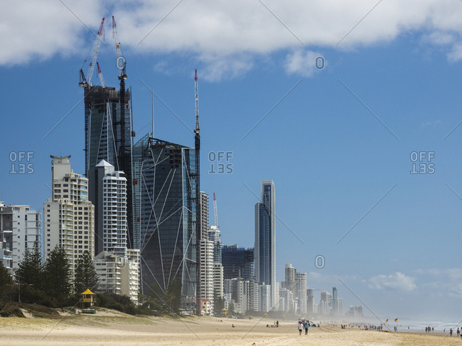 Surfer's Paradise, QLD, Australia - October 3, 2018: Modern skyline by beach in Surfer's Paradise, Australia