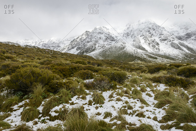 Snow in Hooker Valley, Mount Cook National Park, New Zealand