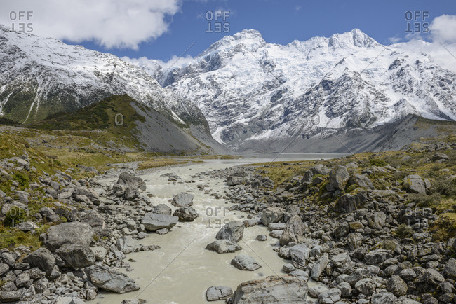 River through Hooker Valley in Mount Cook National Park, New Zealand