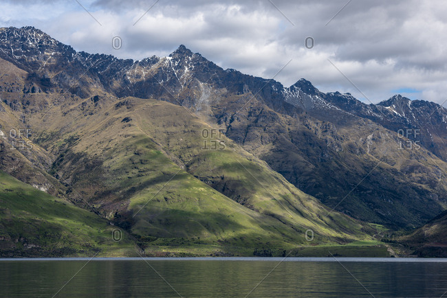 Mountains by Lake Wakatipu near Queenstown, New Zealand