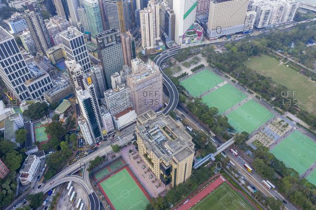 China, Hong Kong, Aerial view of Hong Kong Island, - November 14, 2018: Aerial cityscape of Hong Kong, China