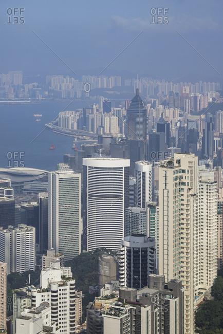 China, Hong Kong, Hong Kong bay and skyscrapers, view from Victoria Peak, - November 11, 2018: Cityscape of Hong Kong, China