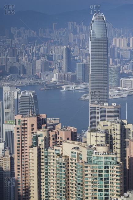 China, Hong Kong, Hong Kong bay and skyscrapers, view from Victoria Peak, - November 11, 2018: Cityscape with Nina Tower in Hong Kong, China