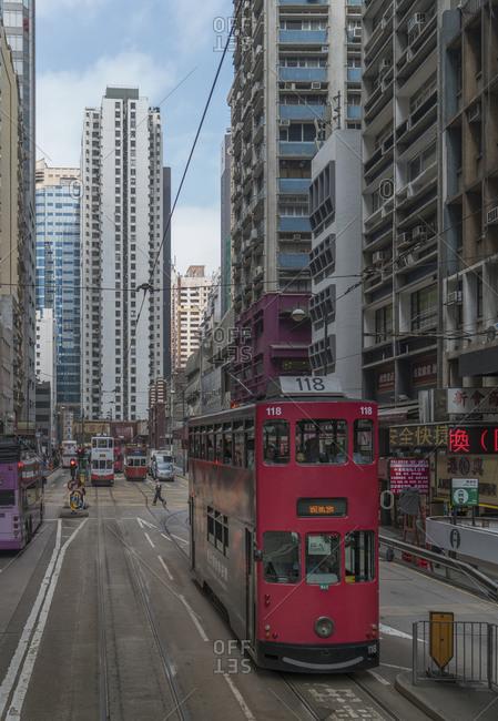 China, Hong Kong, - November 11, 2018: Double-decker tram on street in Hong Kong, China
