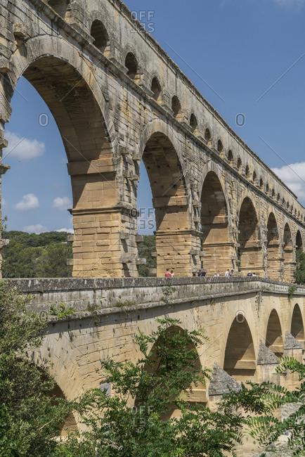 France,  Vars, Pont du Gard, Roman aqueduct, - July 2, 2018: Pont du Gard in Vers-Pont-du-Gard, France