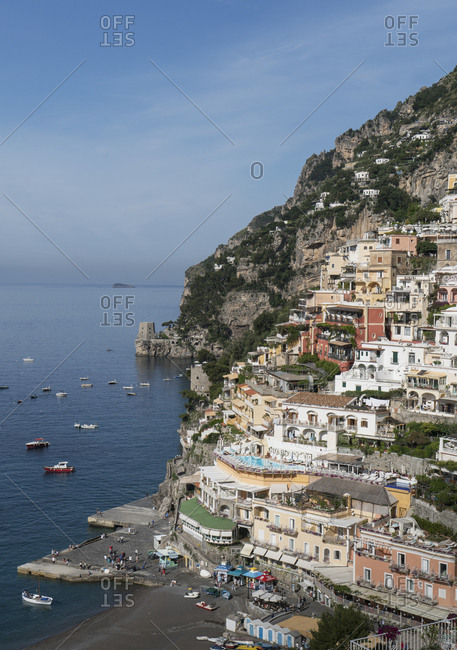 Italy, Campania, Amalfi Coast, Positano - May 18, 2018: Village of Positano on Amalfi Coast, Italy