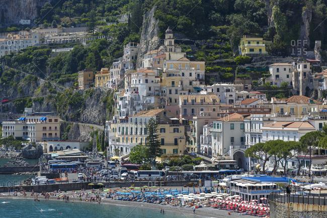 Italy, Campania, Amalfi Coast, Positano - May 19, 2018: Village of Positano on Amalfi Coast, Italy