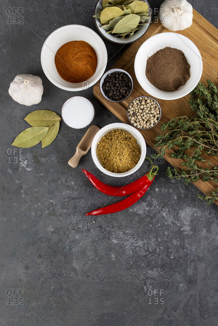 Herbs and spices with chili peppers