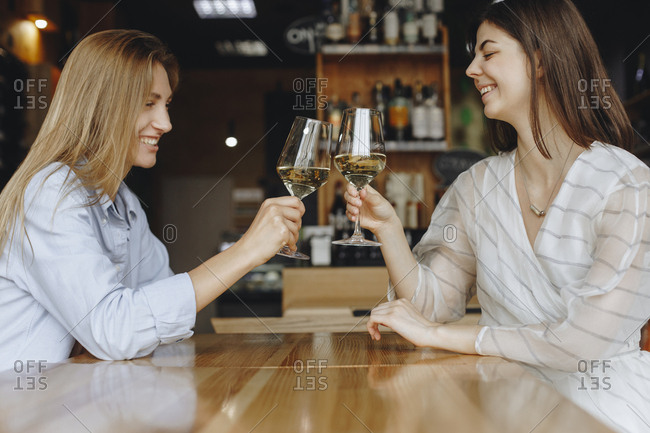 Young women toasting with glasses of white wine