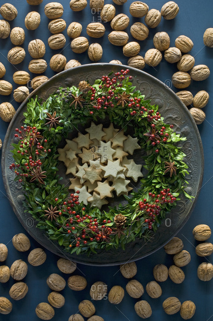 Selfmade Advent wreath- boxwood twigs- rosehip- star anise- shortbread and walnuts