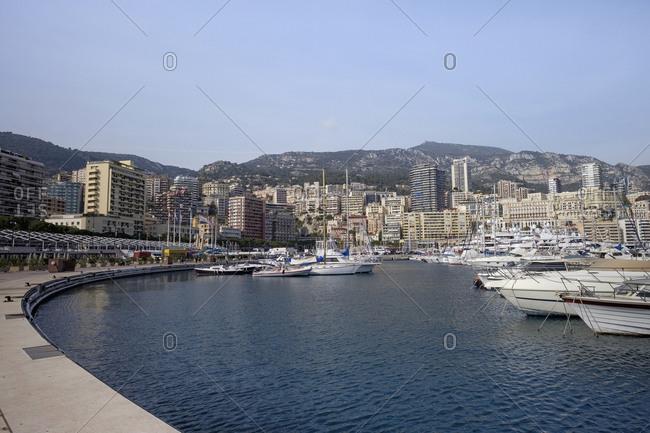 March 4, 2019: Monaco- Monte Carlo- view over the harbor and La Condamine