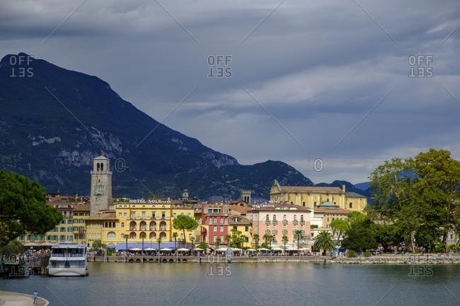 September 3, 2017: Italy- Trentino- Lake Garda- Riva del Garda- harbor with clock tower Torre Apponale