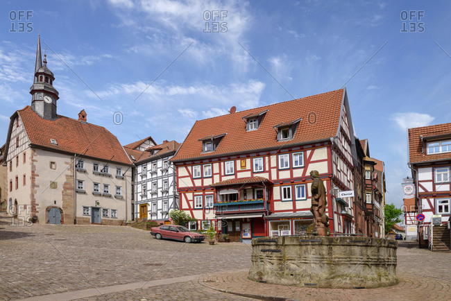 April 25, 2018: Germany- Schlitz- market square with town hall