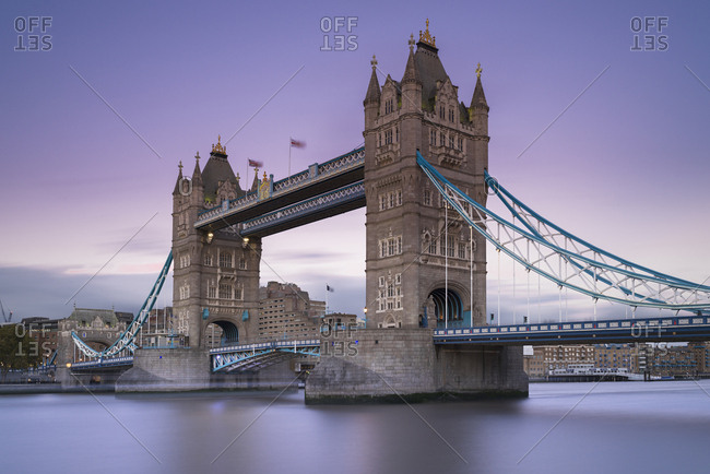 UK- London- Tower Bridge at dusk
