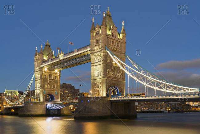 October 26, 2018: UK- London- Tower Bridge at night