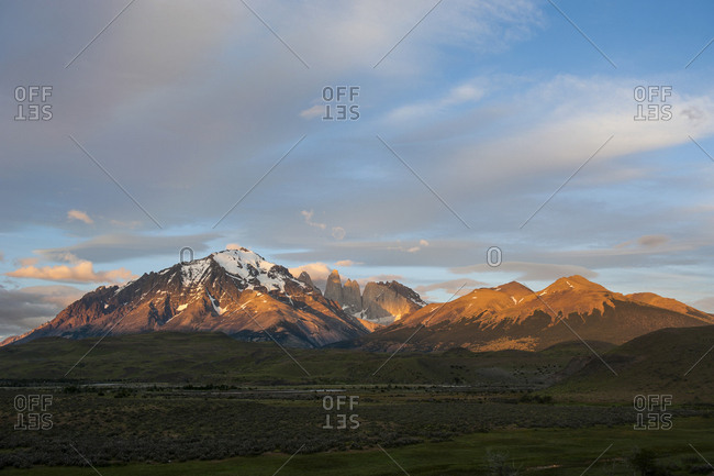 Chile- Patagonia- Torres del Paine National Park- mountainscape in early morning light