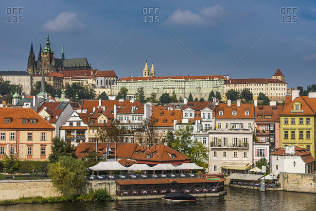 September 23, 2017: Czech Republic- Prague- view on the castle of Prague and the Vltava