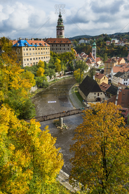 October 9, 2015: Czech Republic- overlook over Cesky Krumlov and the Vltava river