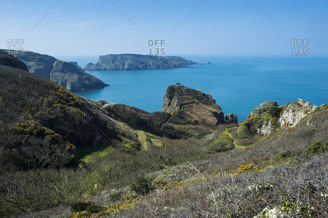 United Kingdom- Channel islands- overlook over the east coast of Sark and the island Brecqhou