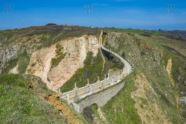United Kingdom- Channel islands- road connecting the narrow isthmus of Greater and Little Sark