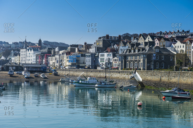 April 8, 2015: United Kingdom- Channel islands- Guernsey- seafront of Saint Peter Port
