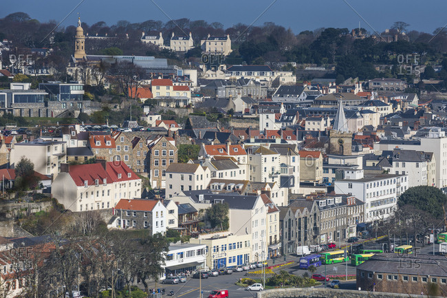 April 9, 2015: United Kingdom- Channel islands- Guernsey- overlook over Saint Peter Port