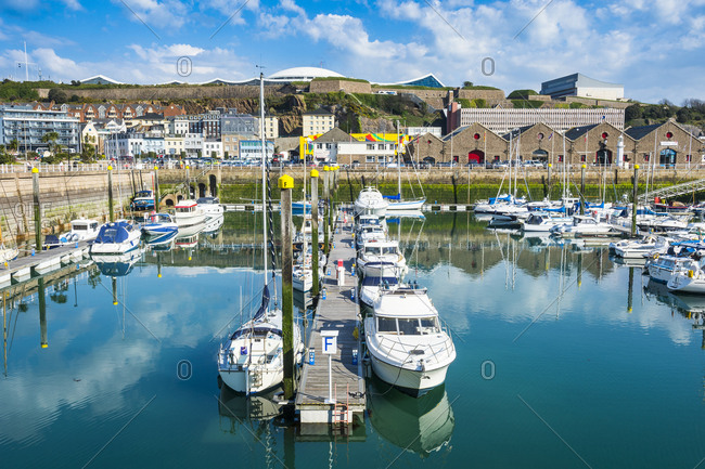 April 10, 2015: United Kingdom- Channel Islands- Jersey-St. Helier- sport boat harbor