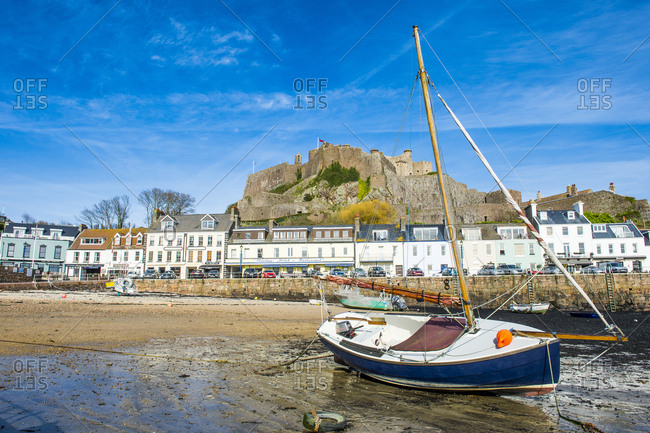 April 11, 2015: United Kingdom- Channel islands- Jersey- the town of Mont Orgueil and its castle
