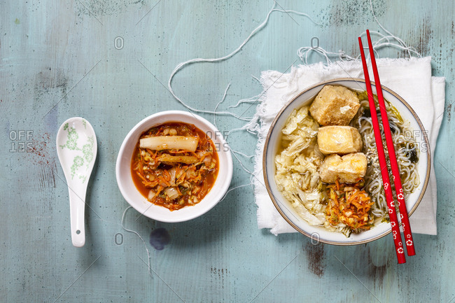 Asian noodle soup with cabbage- tofu- shirataki noodles and homemade kimchi