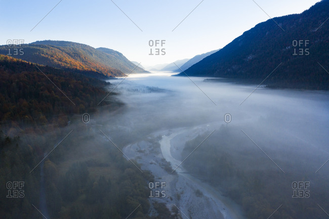 Germany- Upper Bavaria- Upper Isar Valley- Isar river between Wallgau and Vorderriss