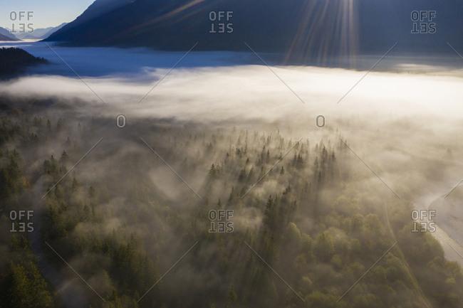 Germany- Upper Bavaria- Isarwinkel- Aerial view of Upper Isar Valley with fog- between Vorderriss and Wallgau