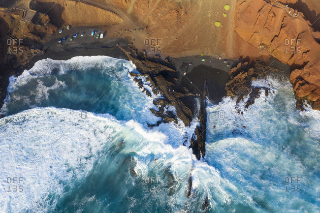 Spain- Canary Islands- Lanzarote- Aerial view of El Golfo- black lava beach