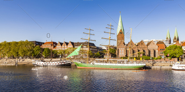 May 8, 2018: Germany- Free Hanseatic City of Bremen- Schlachte- Weser- Martini landing pier- excursion boats- sailing ship Alexander von Humboldt