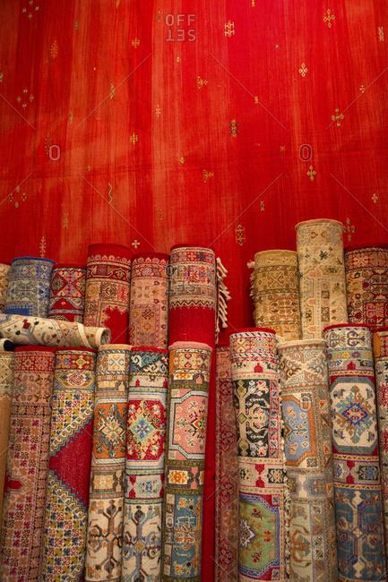 Carpet shop at the Fez medina market, Fes El Bali, Morocco