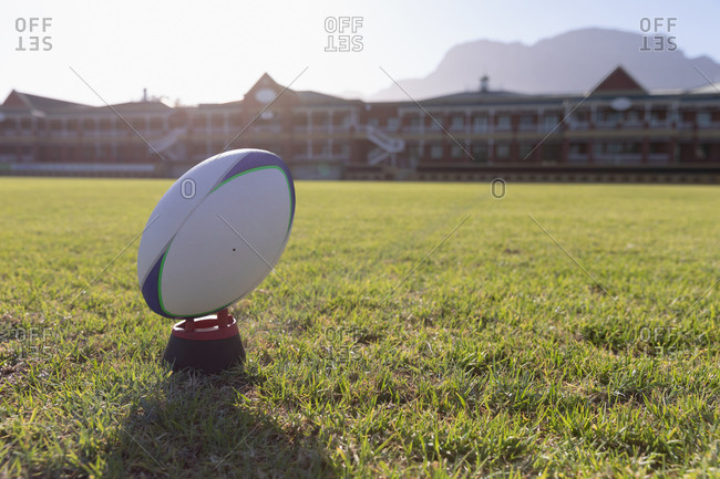 Rugby ball on a stand in the ground