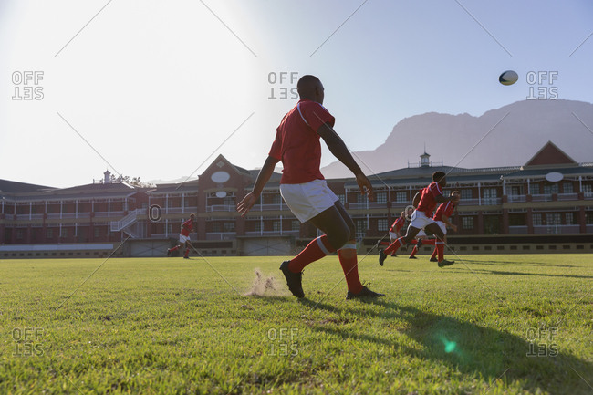 Male rugby player playing rugby in the rugby ground