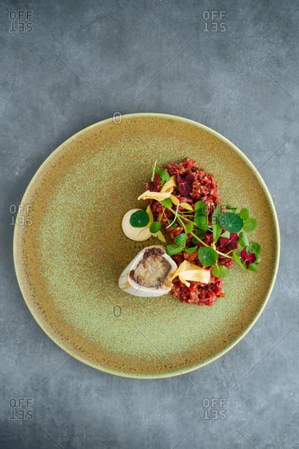 Gourmet tartare dish with bone