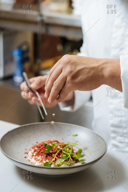 Chef preparing a gourmet dish in a restaurant