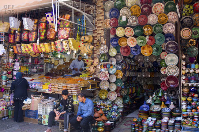 Marrakesh, Morocco - April 14, 2019: Market called a medina sells spices and cookware