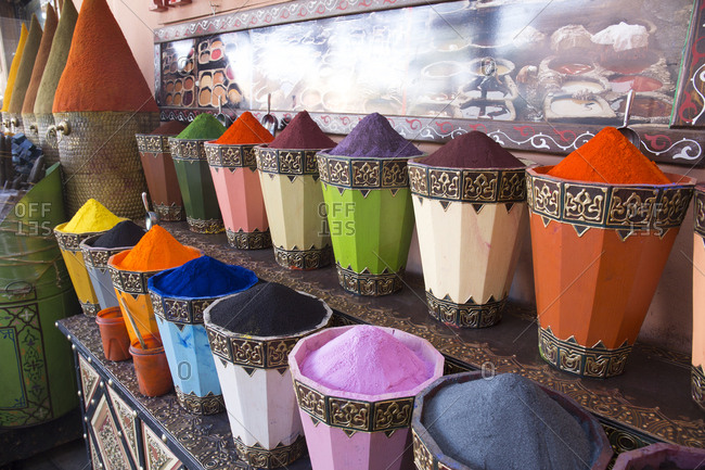 Marrakesh, Morocco - April 14, 2019: Powder for dying clothes or leather for sale in main market town square