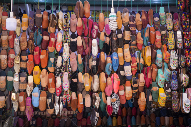 Fes, Morocco - April 14, 2019: Leather sandals for sale in a market