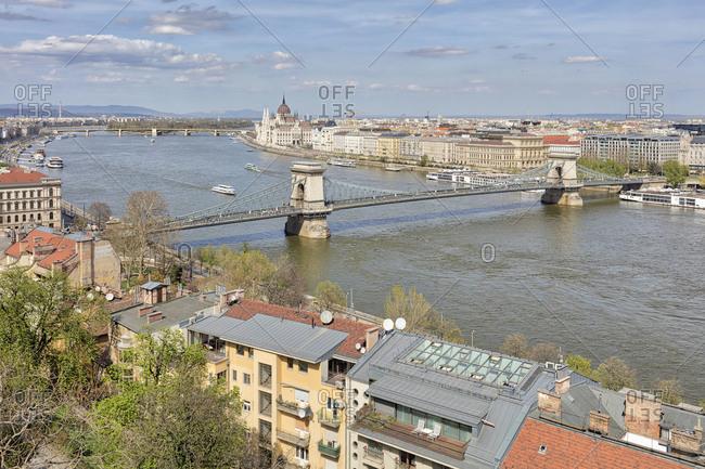 Chain bridge, Danube river and cityscape, Budapest, Hungary