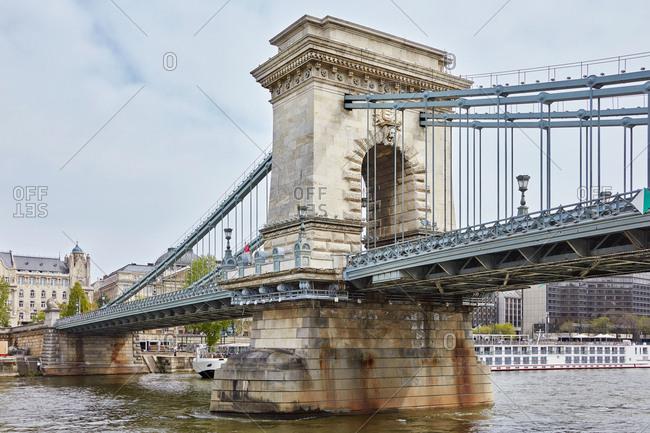 Chain bridge over Danube river, Budapest, Hungary