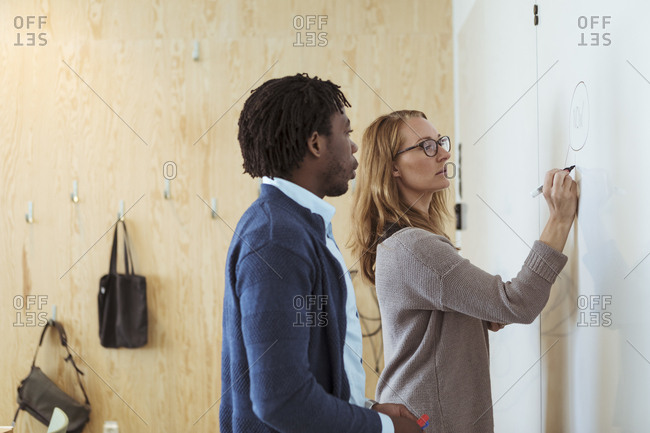 Male and female colleagues writing business plan on whiteboard in office