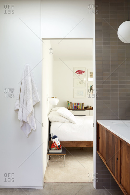 Indian Wells, CA - February 26, 2019: Modern bathroom attached to child's bedroom