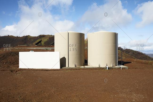 Two large water storage tanks