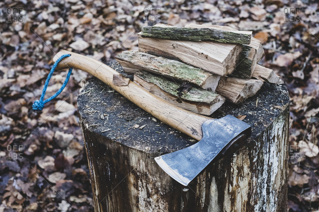 High angle close up of hatchet and wooden logs on chopping block.