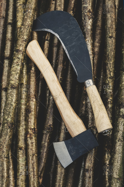 High angle close up of axe and bill hook lying on bunch of wooden stakes used in traditional hedge building.