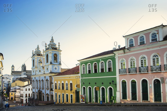 September 2, 2014: South America, Brazil, Bahia, Salvador, Historic centre, the Pelourinho showing Portuguese colonial buildings and the Church of the Third Order of Our Lady of the Rosary of the Black People